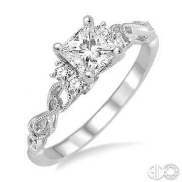 Ashi Diamonds 14k White Gold Straight Diamond Engagement Ring - 15723DJFHWG-LE