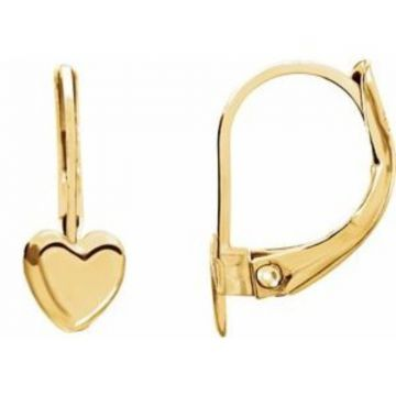 14K Yellow Heart Lever Back Earrings