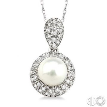 Ashi Diamonds 14k White Gold Diamond & Pearl Pendant - 56626DJFSPDWG