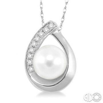 Ashi Diamonds 10k White Gold Diamond & Pearl Pendant - 56669DJTXPDWG