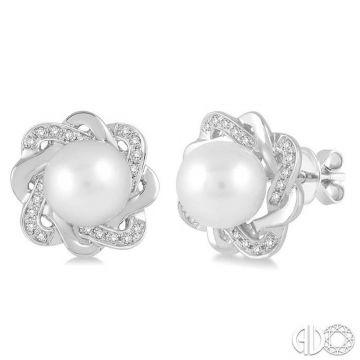 Ashi Diamonds Sterling Silver Pearl & Diamond Earrings - 88699DJSSWPSLER