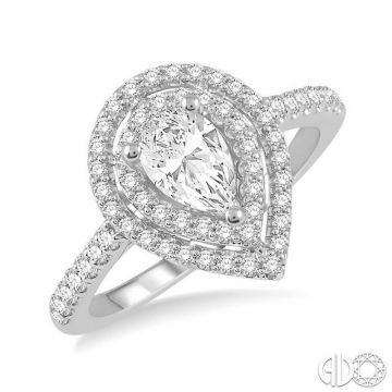 Ashi Diamonds 14k White Gold Double Halo Diamond Engagement Ring - 244H3DJFHWG-LE