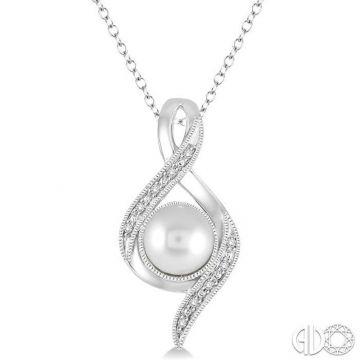 Ashi Diamonds Sterling Silver Diamond & Pearl Pendant - 88489DJSSSLPD