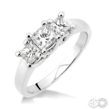 Ashi Diamonds 14k White Gold 3 Stone Diamond Engagement Ring - 35151DJFCW