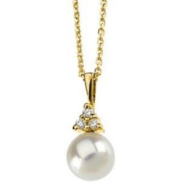 14K Yellow Akoya Cultured Pearl & Diamond Necklace