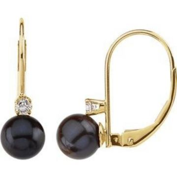 14K Yellow Akoya Cultured Pearl & 1/10 CTW Diamond Lever Back Earrings