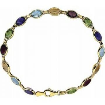 "14K Yellow Multi-Gemstone Line 7"" Bracelet"