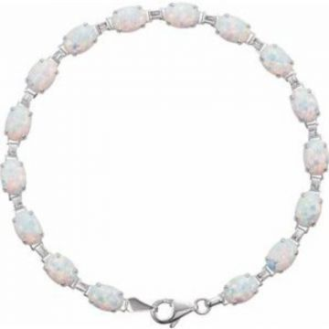 "14K White Lab-Grown Opal Line 7"" Bracelet"