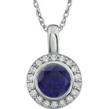 """Sterling Silver 7 mm Round Dark Blue Cubic Zirconia Halo-Style 18"""" Necklace"""