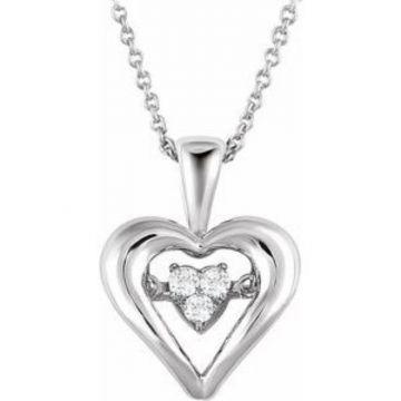 "Sterling Silver 1/10 CTW Diamond Heart Mystara 18"" Necklace"