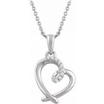 """Sterling Silver .05 CTW Diamond Heart 16-18"""" Necklace"""