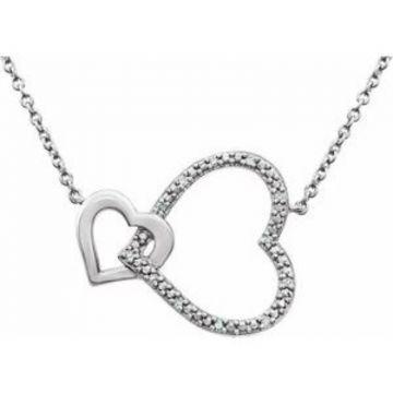 "Sterling Silver .03 CTW Diamond Interlocking Heart 18"" Necklace"