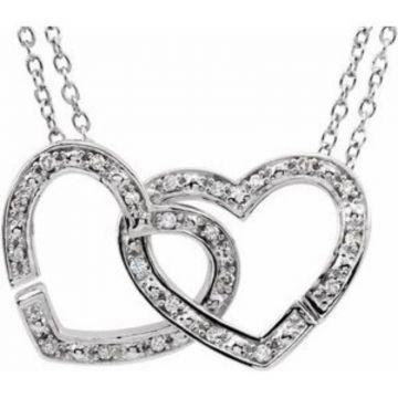 "Sterling Silver 1/6 CTW Diamond 2-in-1 Interlocking Heart 18"" Necklace"
