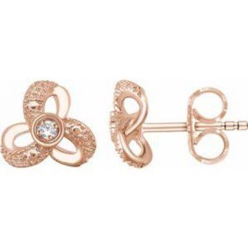 14K Rose 1/6 CTW Diamond Knot Earrings