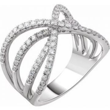 14K White 9/10 CTW Diamond Criss-Cross Ring