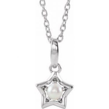 """Sterling Silver 3 mm Round June Youth Star Birthstone 15"""" Necklace"""