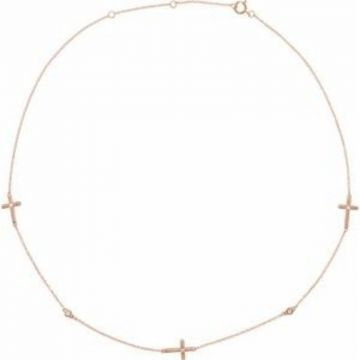 14K Rose 1/10 CTW Diamond 5-Station Cross Adjustable 16-18?? Necklace