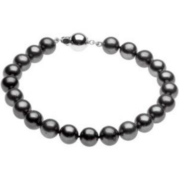 """Sterling Silver Freshwater Cultured Black Pearl 7.75"""" Bracelet"""