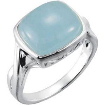 Sterling Silver Milky Aquamarine Ring