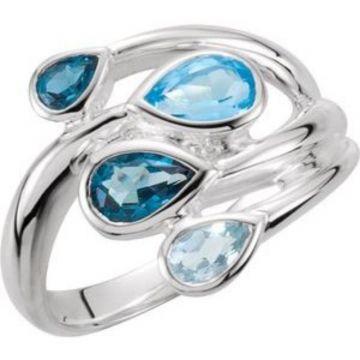 Sterling Silver Sky Blue Topaz, London Blue & Swiss Blue Bypass Ring