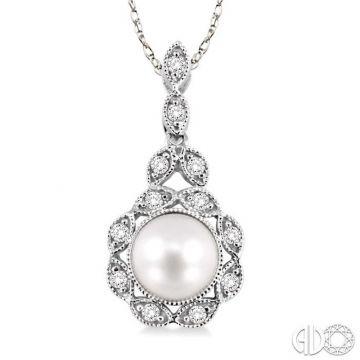 Ashi Diamonds 14k White Gold Diamond & Pearl Pendant - 56658DJFSPDWG