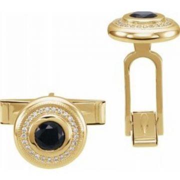 14K Yellow Onyx & .06 CTW Diamond Cuff Links