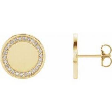 14K Yellow 1/4 CTW Diamond Engravable Earrings