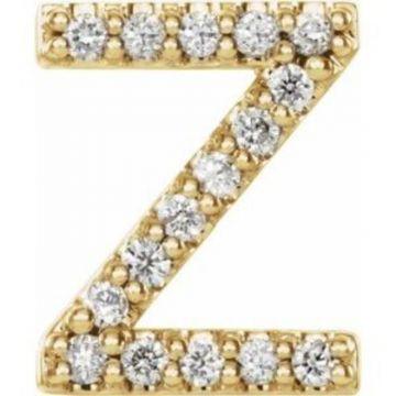 14K Yellow .06 CTW Diamond Single Initial Z Earring