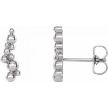 Sterling Silver Beaded Ear Climbers
