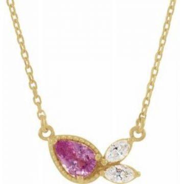 "14K Yellow Pink Sapphire & 1/6 CTW Diamond 18"" Necklace"