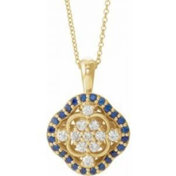 "14K Yellow Blue Sapphire & 1/3 CTW Diamond 16-18"" Necklace"