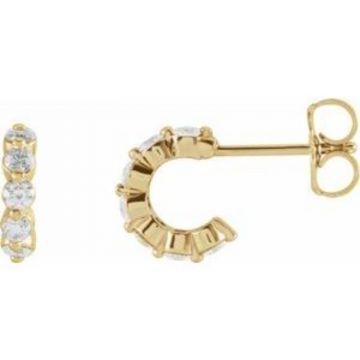 14K Yellow 3/8 CTW Diamond Hoop Earrings