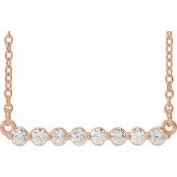 "14K Rose 1/4 CTW Lab-Grown Diamond Bar 18"" Necklace"