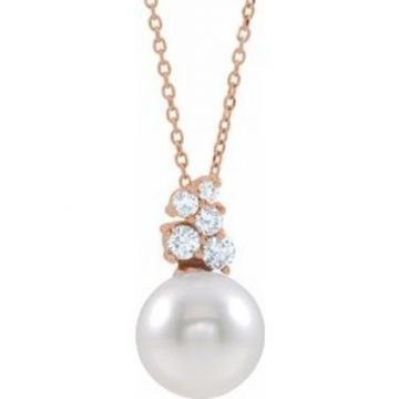 """14K Rose Freshwater Cultured Pearl & 1/4 CTW Diamond 16-18"""" Necklace"""