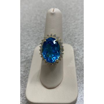 14K Yellow Gold  Blue Topaz & Diamond Ring