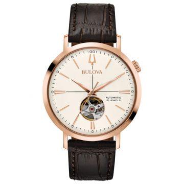 Bulova Automatic AeroJet Rose Stainless Steel Leather Band Automatic Watch