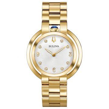 Bulova Rubaiyat Yellow Stainless Steel Diamond Quartz Watch