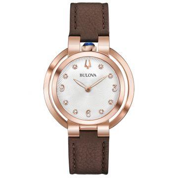 Bulova Rubaiyat Legendary Herritate Reinvented Rose Stainless Steel Diamond Leather Band Watch