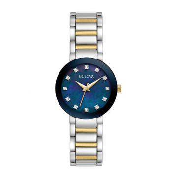 Bulova Futuro Modern White Stainless Steel Diamond Strap Watch