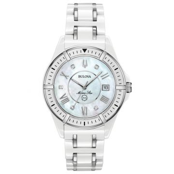 Bulova Marine Star White Ceramic and Stainless Steel Diamond Quartz Watch