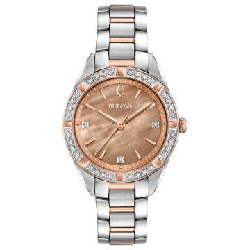 Bulova Sutton White Stainless Steel Diamond Quartz Watch