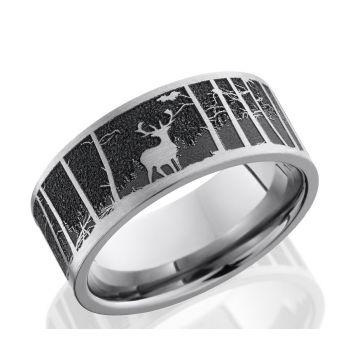 Lashbrook Colbalt Chrome Grey Carved Wedding Band
