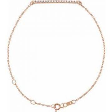 """14K Rose .07 CTW Diamond Bar 6 1/2-71/2"""" Bracelet"""