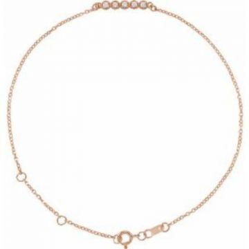 """14K Rose.07 CTW Diamond Bar 6 1/2-7 1/2"""" Bracelet"""