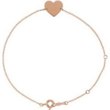"18K Rose Gold-Plated Sterling Silver Heart 7-8"" Bracelet"