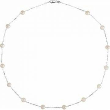 """Sterling Silver Freshwater Cultured Pearl Station 18"""" Necklace"""
