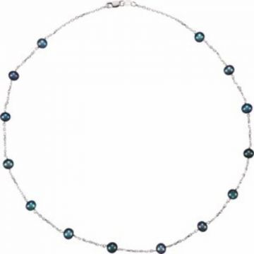 """Sterling Silver Freshwater Black Cultured Pearl Station 18"""" Necklace"""