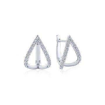 Gabriel & Co. 14k White Gold Kaslique Diamond Huggie Earrings