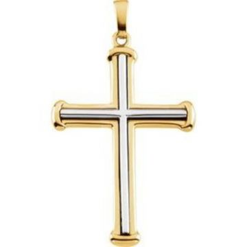 14K Yellow/White 34.75x25 mm Cross Pendant