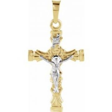 14K Yellow & White 21.5x14.5 mm Crucifix Pendant